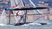 Naples (Italy), 11/04/2012  Americas Cup World Series Naples 2012  Artemis Racing nose dives and capsizes on Day 1