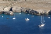 Aerial View of Menorca Yachts at anchor