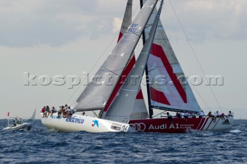 Audi A1 powered by All4One Tbones Bribon on the first beat of race six Audi MedCup 2010 Cagliari Sar