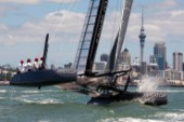 Oracle Racing take the first AC45 out for a test sail in the Waitamata harbour, Auckland. 20/1/2011