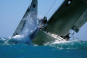 Crashing through waves at Acura Key West Race Week