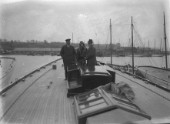 Sir Thomas Lipton onboard the deck of his J-Class Shamrock V at her launch at Camper and Nicholsons, Gosport, in 1930
