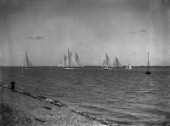 Large yachts including Westward racing off Cowes UK during in the 1930s