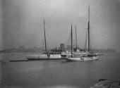Large yachts moored at Nicholsons in Gosport, in Portsmouth Harbour UK in the 1930