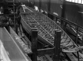 Large yacht being built in the building sheds at Nicholsons in Gosport in 1930