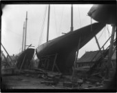 Large yacht Val...? of the RYS on the hard in Marvins Yard on the south coast UK in 1930