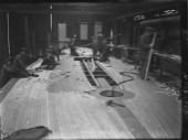 The original deck being built on the J-Class yacht Shamrock commissioned by Sir Thomas Lipton in 1930 at Camper and Nicholsons in Gosport, UK