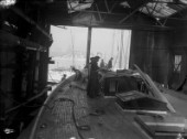 Laying the deck on a large yacht (possibly J-Class Shamrock) in the 1930s