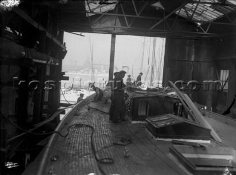 Laying the deck on a large yacht possibly JClass Shamrock in the 1930s
