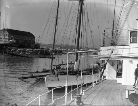 Motor yachts and sailing yachts alongside Ratsey  Lapthorn sailmakers in Gosport in the 1930s