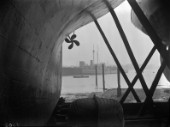 View under a large yacht keel and propeller in Camper and Nicholsons yard in Gosport in 1930