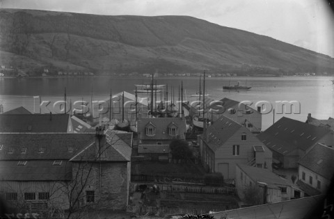 Yachts moored on the Loch by Robertsons Yard in Scotland in 1930