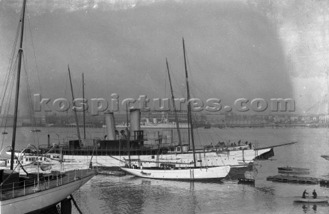 Steam yacht at Camper and Nicholsons yard in 1930s