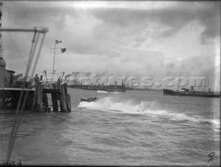 Powerboat racing off Hyde Pier in The Solent in the 1930s