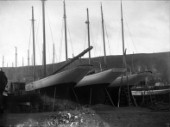 Susanne (left). Perhaps one of Fifes most famous yachts, built at Fairlie in 1906. This yacht was in commission for over fourty years as a racing and cruising yacht, (then known as Lamorna) until she sunk neglected at anchor in the mid fifties.