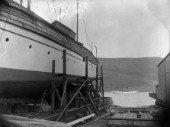 A large steam yacht on the slipway at Robertsons Yard in Scotland in 1930