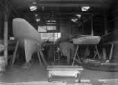 Mignon in the boat shed at Robertsons Yard in Scotland in 1930