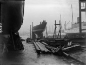 The J-Class yacht Shamrock V owned by Sir Thomas Lipton on the slipway in 1930