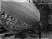 Planking up a yacht at Hillyards Yard in the 1930s