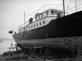 A motor yacht on the slipway at Camper & Nicholsons yard in Gosport in 1936