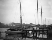 Yachts alongside at Mays yard in Lymington UK (now known as Berthons) in 1936