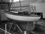 Cruising yacht on a slipway at Mays Yard in Lymington (now known as Berthons) in 1939