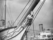 The figurehead on the bow of the classic superyacht Conqueror in 1939