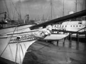 The figurehead on the bow of the classic superyacht Westoe in 1939