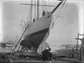 A large yacht on a slipway in the 1930s