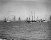 Large racing yachts off Cowes (including Westward) in the Solent in the 1930s
