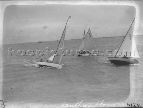 X Boats racing off Cowes in the Solent including number 1 in NMM Collection