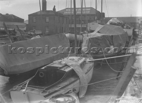 Boats laid up  with William Osborne yard at rear Littlehampton