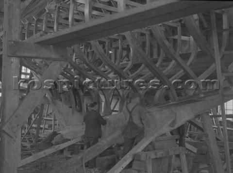 Boatbuilding at Mays Yard in Lymington now known as Berthon Yacht Services in 1939