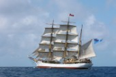 Tall ship Picton Castle sailing during the 2015 Antigua Classic Yachts regatta.
