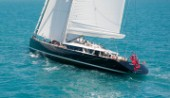58m superyacht Kokomo sailing during the Audi Hamilton Race Week