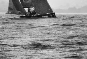 RC44 Austria Cup 2012, Gmunden, Traunsee. Heavy rain falling on water