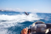 Two men jet skiing in the mediterranean sea.