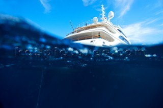 Underwater view of a superyacht