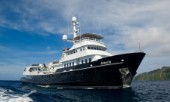 Cruising in Indonesia, superyacht Asteria at anchor in Wagmab