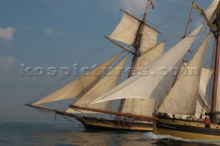 Tall ships Pride of Baltimore and Le Renard sailing
