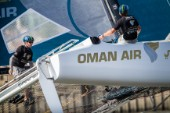 2015 Extreme Sailing Series - Act 5 - Hamburg.Oman Air skippered by Stevie Morrison (GBR) and crewed by Nic Asher (GBR), Ed Powys (GBR), Ted Hackney (AUS) and Ali Al Balushi (OMA)