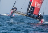Americas Cup arrives in Muscat. Practice race. Louis Vuitton Americas Cup World Series Oman 2016. First day of racing. Emirates Team New Zealand, Glenn Ashby, Pete Burling, Ray Davies, Blair Tuke, Guy Endean. Muscat ,The Sultanate of Oman.