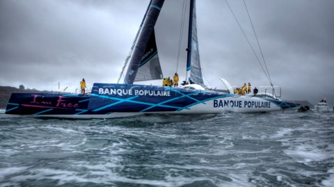 BREST FRANCE  7th JANUARY 2012 Maxi Banque Populaire V FRA the 140 foot trimaran skippered by Loick