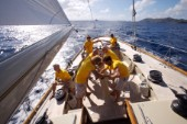 The crew onboard W-Class yacht Wild Horses work together during a race near Saint Bartholomew, French West Indies.