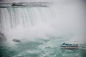 The Maid of the Mist approaches the base of Niagara Falls.
