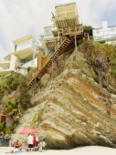 This is a scenic view of a beach observatory with stiff-high staircase at Laguna beach California.