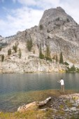Aireus Christensen cast a fly on a remote lake in a scenic section of the Sawtooth National Recreation Area, Idaho