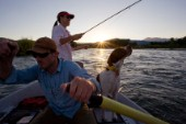 A couple and their dogs fly fish the Snake River at sunset from a drift boat near Jackson, Wyoming.  USA.
