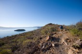 Woods Wheatcroft runs a section of trail above Concepcion Bay along the Sea of Cortez, Baja California, Mexico. Woods Wheatcroft/Aurora Photos