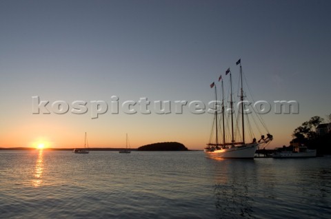 At sunrise the 151 foot four masted Schooner Margaret Todd  that sails the islands of Frenchmans Bay
